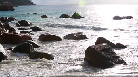 Waves at Anse Lazio, Praslin island, Seychelles, audio Footage