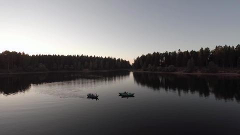 night camera flies toward the boat Footage