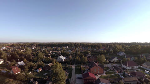 The camera slowly descends over the village Footage