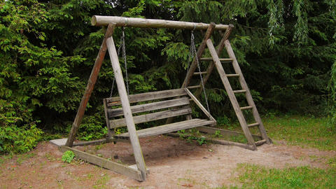 Empty wooden swing with ladder Footage