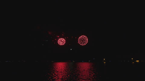 Bright Fireworks on the Michigan Lake in Chicago Footage