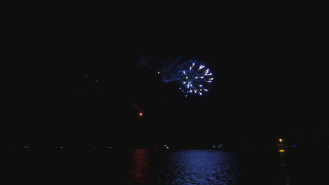 Bright Fireworks on the Michigan Lake in Chicago Live Action
