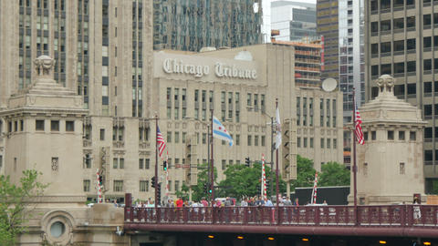 Chicago Tribune Building and the Michigan Bridge in Chicago Footage