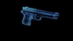 Gun Weapon Hologram Wireframe in Motion. Nice 3D Rendering Animation