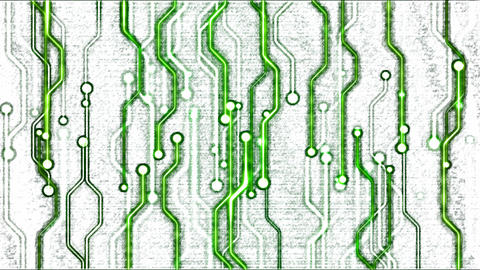 Abstract Technology Circuit Background - Loop Green Animation