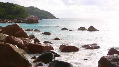 Tropical landscape of Anse Lazio, Prasin island, Seychelles Live Action