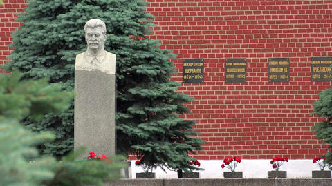 The bust of Joseph Stalin at the Kremlin wall. Red Square. Moscow. 4K Footage