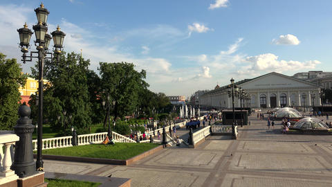 Manege Square in Moscow. 4K Footage