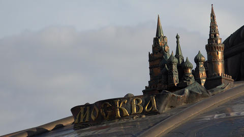 Moscow, bronze layout, fountain, Manezhnaya Square. 4K Footage
