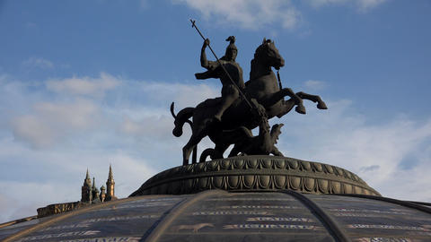 George Victorious. Sculpture at the Manege Square in Moscow. 4K Live Action