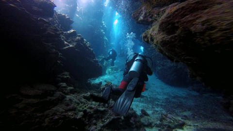 Immersion into the underwater caves of the reef Claudio. Diving in the Red sea n Footage