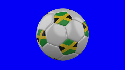 Soccer ball with Jamaica flag on blue chroma key, loop Animation