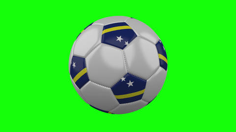 Soccer ball with Curacao flag on green chroma key, loop Animation