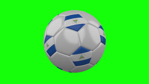 Soccer ball with Nicaragua flag on green chroma key, loop Animation