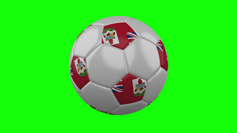Soccer ball with Bermuda flag on green chroma key, loop Animation