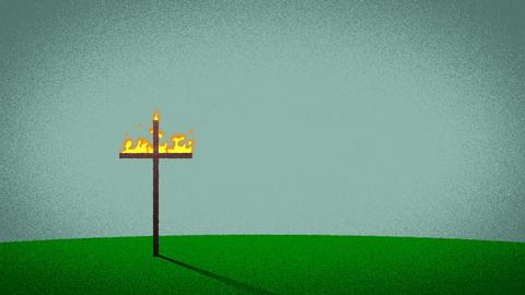 Burning Cross Cartoon Animation Background Footage