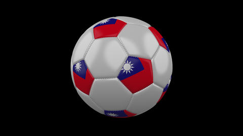 Soccer ball with flag Republic of China - Taiwan, loop, 4k with alpha Animation