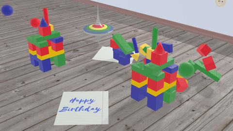 Spinning top and blue lettering - Happy Birthday Animation