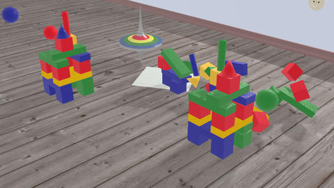 Kids spinning top runs between the cubes Animation