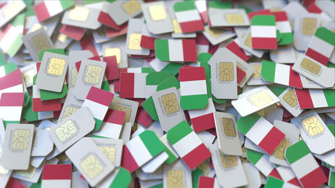 Many SIM cards with flag of Italy, Italian mobile telecommunications related 3D ビデオ