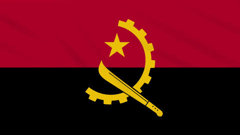 Angola flag waving cloth, background loop Animation