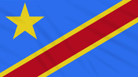 Congo DR flag waving cloth, background loop Animation
