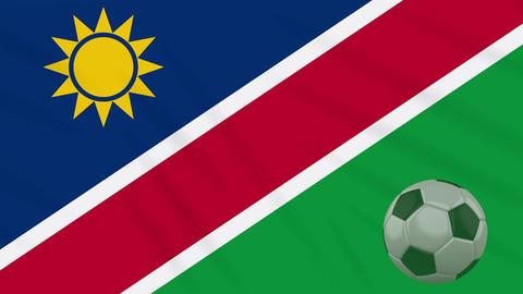 Namibia flag waving and soccer ball rotates, loop Animation