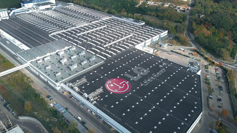 Logo of LG on the roof of an industrial facility, conceptual editorial clip Footage