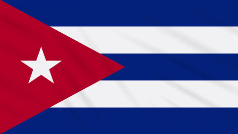 Cuba flag waving cloth, background loop Animation