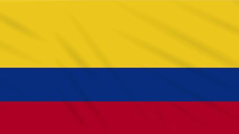 Colombia flag waving cloth, background loop Animation