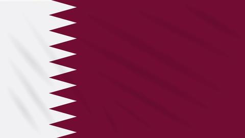 Qatar flag waving cloth, background loop Animation