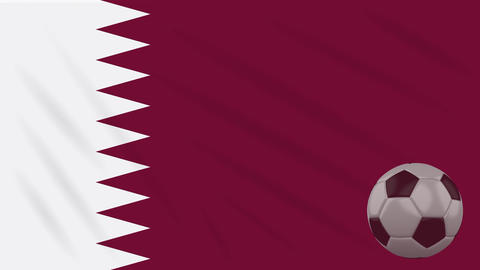 Flag of Qatar and soccer ball rotates against backdrop of waving cloth Animation