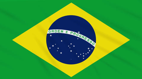 Brazil flag waving cloth, background loop Animation