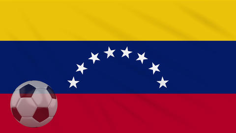 Flag of Venezuela and soccer ball rotates against backdrop of waving cloth Animation