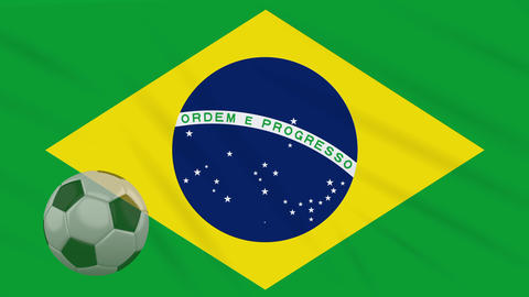 Flag of Brazil and soccer ball rotates against backdrop of waving cloth Animation