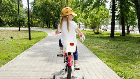 Pretty Little Girl Ride On Bicycle Footage