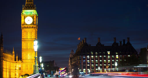 London, England time lapse of Big Ben and traffic on Westminster Bridge Live Action
