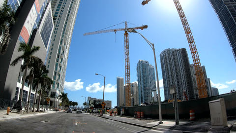 Miami, USA - February 2019: driving in downtown Miami on a sunny day Footage