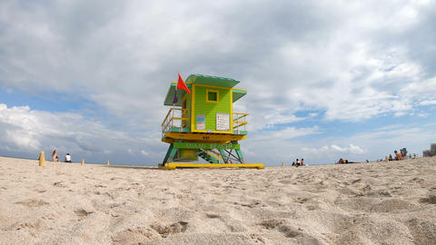 Miami Beach, USA - February 2019: Colorful lifeguard tower in world famous Miami Footage