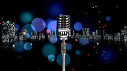 Vintage Microphone on animated background of the city Animation