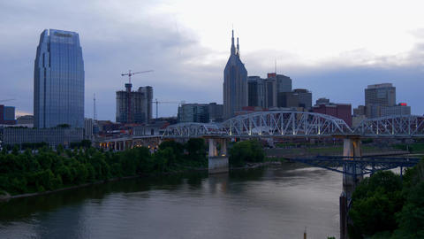 View over the skyline of Nashville in the evening - NASHVILLE, UNITED STATES - Footage