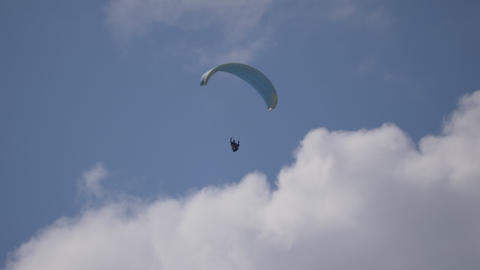 Paragliding Flying Cloudy Footage