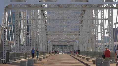 Famous Pedestrian Bridge in Nashville - the John Seigenthaler Bridge - NASHVILLE Footage