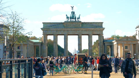 BERLIN, GERMANY - OCTOBER 21, 2018. Crowded tourist place near the Brandenburg Live Action