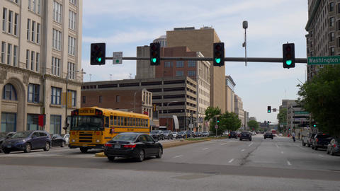 Street view with School Bus at Tucker Blvd in St. Louis- SAINT LOUIS, USA - JUNE Live Action