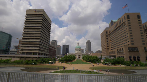 Luther Ely Smith Park and Old Courthouse in Saint Louis- SAINT LOUIS, USA - JUNE Footage