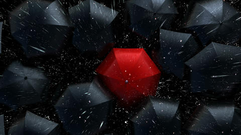 Leader in the Crowd Concept, Red Umbrella Sneaks Up Against the Flow of Black Umbrellas Animation