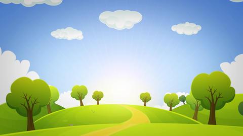 Spring Or Summer Cartoon Landscape Animation Loop Animation