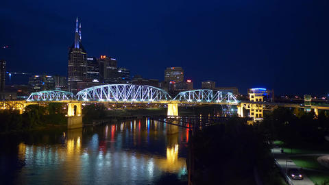 John Seigenthaler Pedestrian Bridge in the evening - NASHVILLE, UNITED STATES - Footage