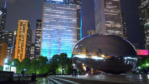 Chicago by night - Cloud Gate at Millennium Park - CHICAGO, USA - JUNE 20, 2019 Footage